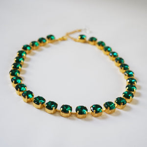 Emerald Green Paste Crystal Riviere Necklace - Small Round