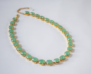 Green Opal Crystal Collet Necklace - Small Oval