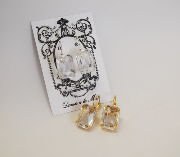 Sample Sale!  Clear Crystal Earrings - Large Octagon