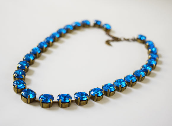 Capri Blue Crystal collet necklace - Small oval