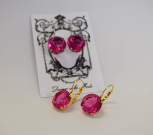 Sample Sale!  Pink Topaz Earrings - Medium Round