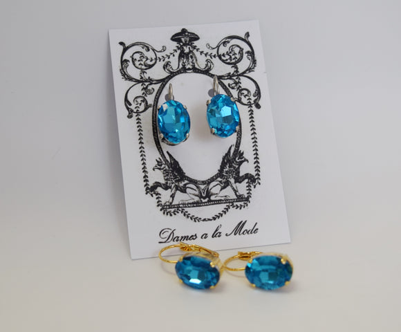 Sample Sale!  Bright Blue Earrings - Medium Oval