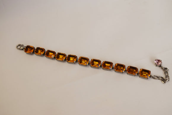 Sample Sale!  Bracelet - Orange Topaz Small Octagon