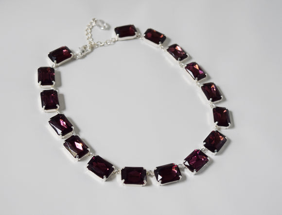 Amethyst Purple Crystal Collet Necklace - Large Octagon