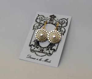 Golden Texture Round Earrings