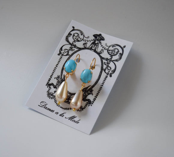Faux Turquoise and Pearl Dangles - Small Oval