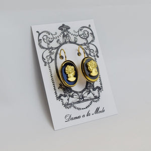 Black and Gold Cameo Earrings