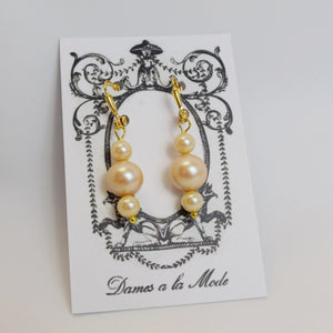 Pearl Earrings - Golden Triple Drop