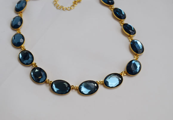 Navy Blue Mirror Back Faceted Necklace - Large Oval