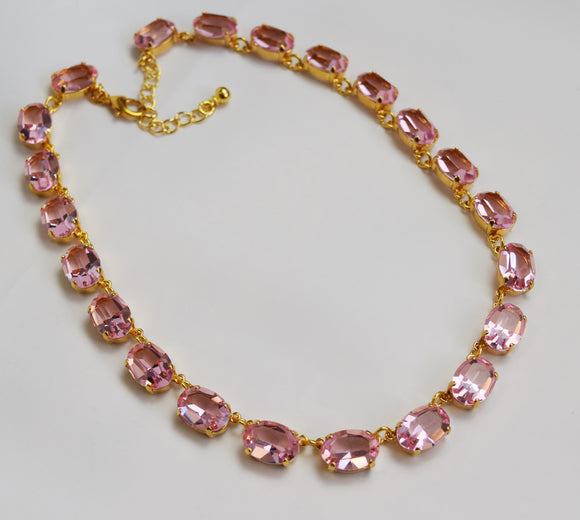 Light Pink Swarovski Crystal Necklace - Medium Oval