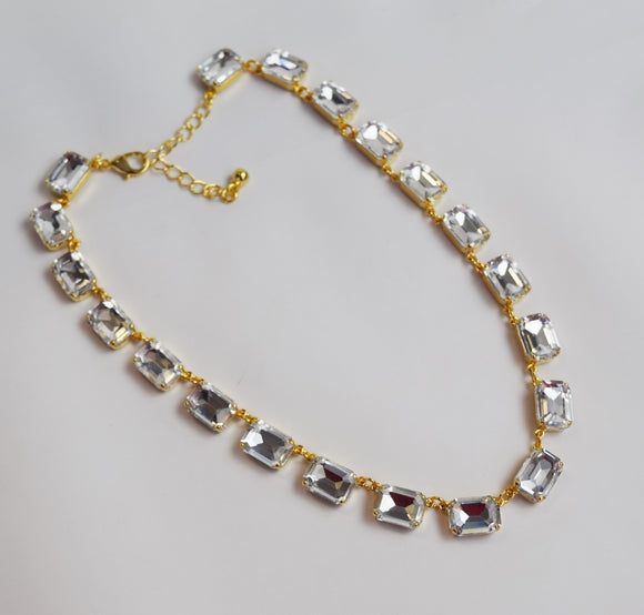 Clear Crystal Swarovski Collet Necklace - Medium Octagon