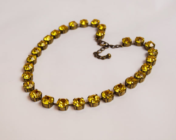 Deep Yellow Swarovski Crystal Collet Necklace - Small Round