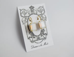 White Opal Crystal Earrings - Medium Octagon
