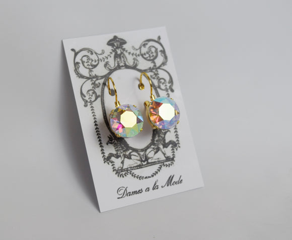 Iridescent Aurora Borealis Earrings - Medium Round