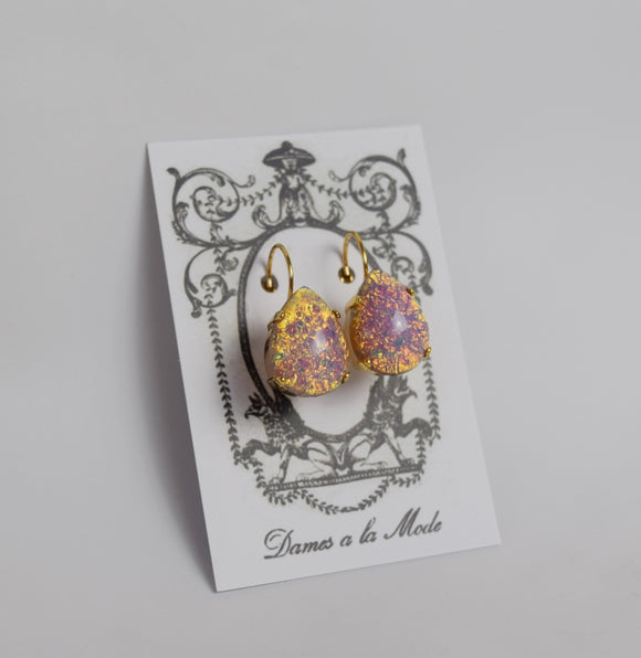 Opal Glass Earrings - Large Teardrop