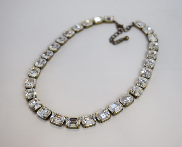 Clear Swarovski Crystal Collet Necklace - Small Octagon