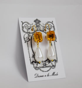 Golden Topaz Crystal and Pearl Earrings