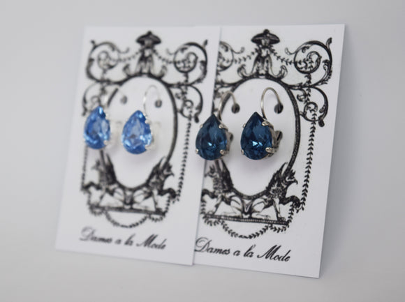 Blue Crystal Teardrop Earrings - Medium