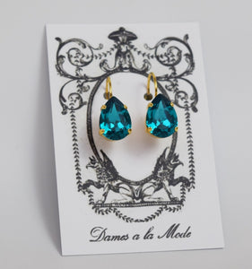 Blue Zircon Swarovski Crystal Earrings - Medium Teardrop