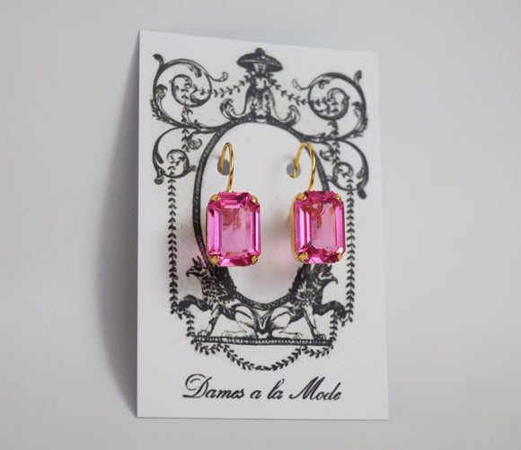 Pink Topaz Swarovski Crystal Earrings - Medium Octagon