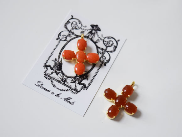 Small Carnelian or Coral Cross - Jane Austen Cross
