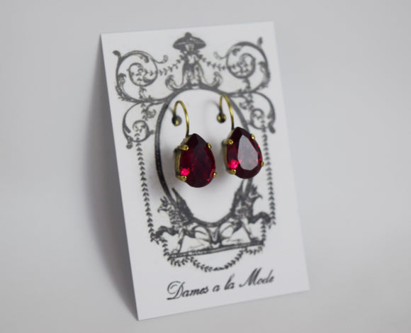 Dark Pink Swarovski Teardrop Earrings - Medium Teardrop