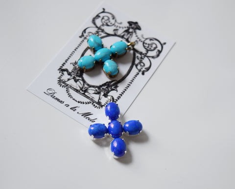 Small lapis or turquoise cross pendant dames a la mode small lapis or turquoise cross pendant aloadofball Images