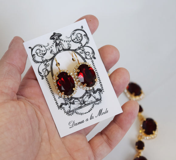 Garnet Swarovski Halo Crystal Earrings - Large Oval