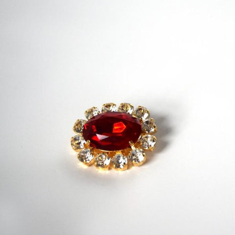 Ruby Red Crystal Cluster Brooch