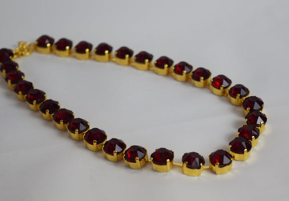 Garnet Red Crystal Necklace - Small Round - On Sale!