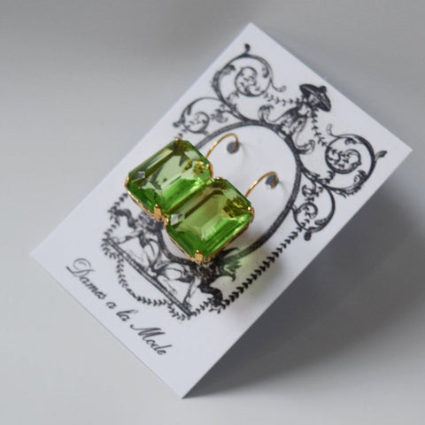 Peridot Crystal Earrings - Large Octagon