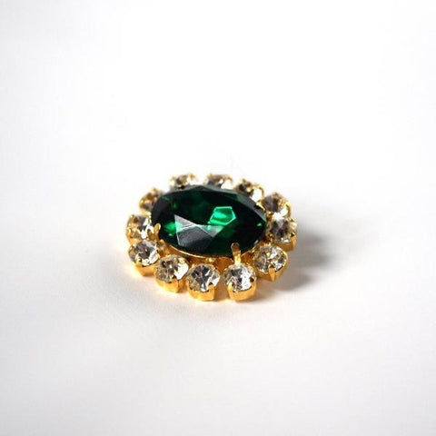Emerald Green Crystal Cluster Brooch