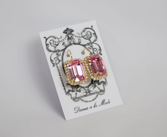Pink Swarovski Halo Earrings - Large Octagon