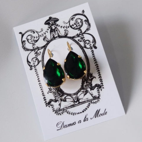 Mirror Back Emerald Crystal Teardrop Earrings