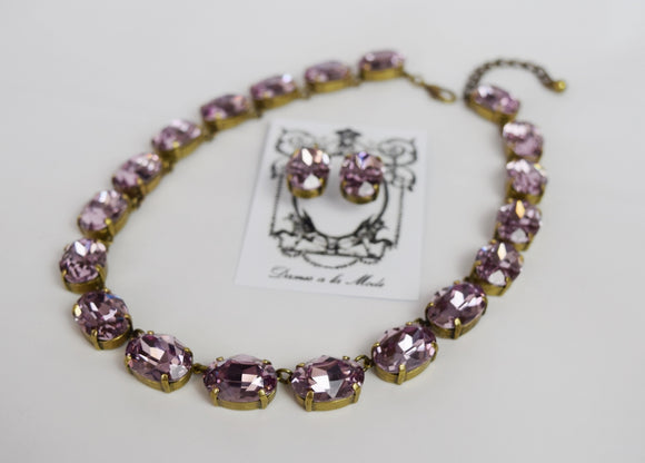 Light Amethyst Swarovski Crystal Collet Necklace - Large Oval