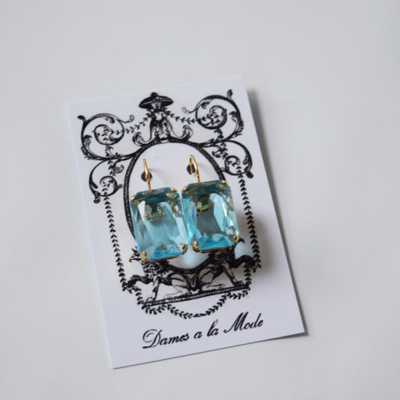 Aquamarine Crystal Earrings - Large Octagon