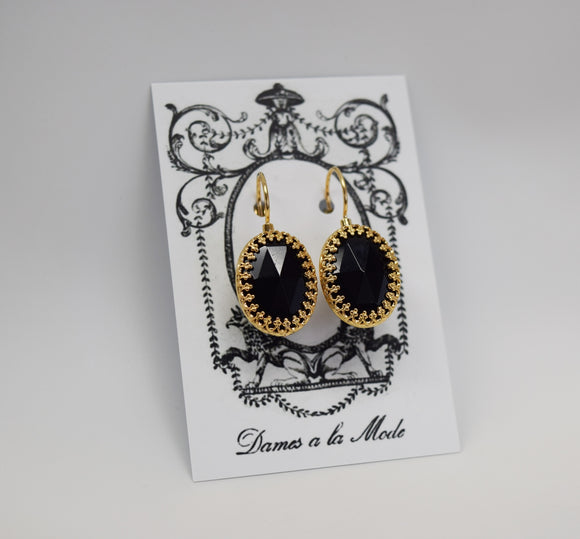 Onyx Black Crown Earrings - Large Oval