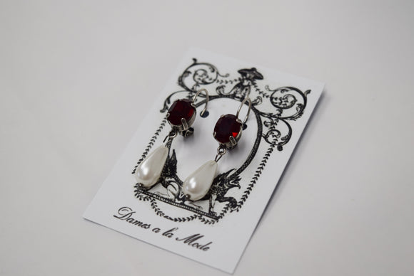 Garnet Swarovski Crystal and Pearl Dangles - Tiny Oval, Small Pearl