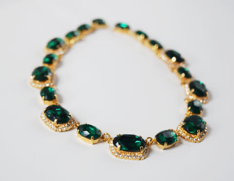 Green Crystal Halo Necklace - Emerald Riviere