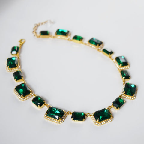 Green Crystal Octagon Halo Necklace