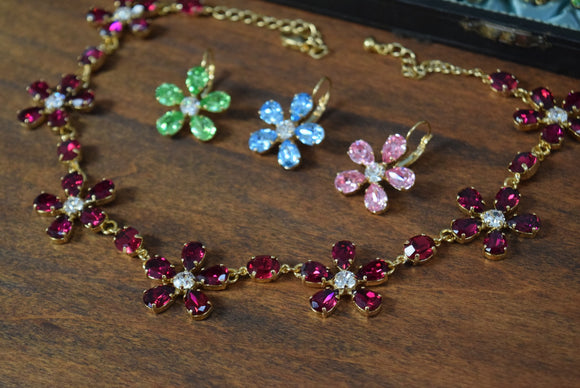 Floral Necklace - Swarovski Teardrop Stones