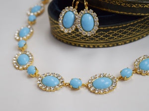 Large Oval Turquoise Halo Necklace