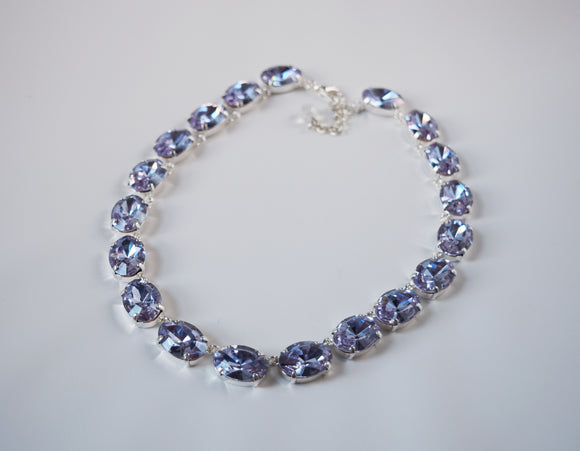 Alexandrite Swarovski Crystal Collet Necklace - Large Oval
