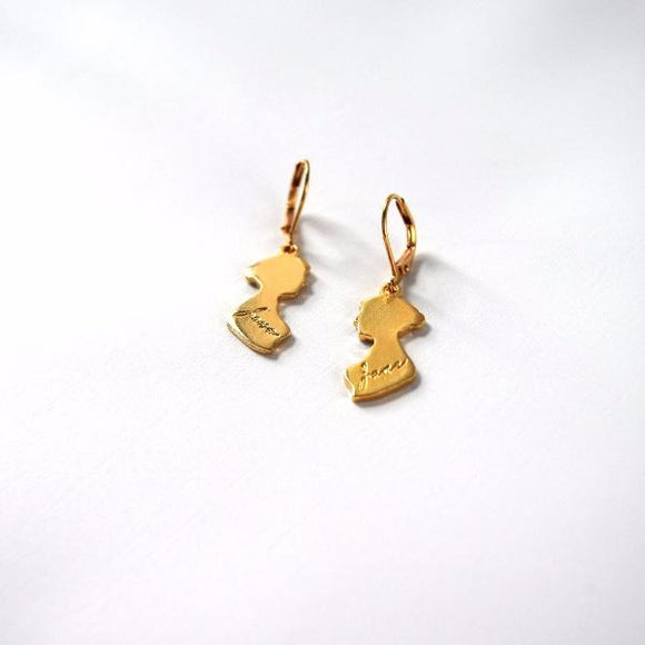 Jane Austen Silhouette Earrings