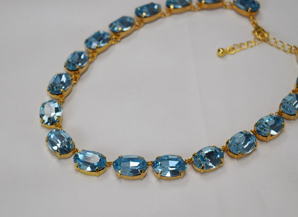 Light Aquamarine Blue Swarovski Crystal Collet Necklace - Large Oval