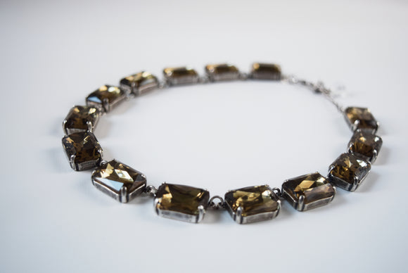 Black Diamond Grey Collet Necklace - Large Octagon