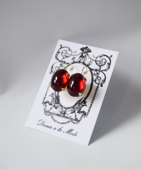 Dark Red Crystal Mirror Earrings - Large Oval