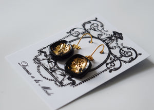 Warrior Intaglio Earrings - Black and Gold