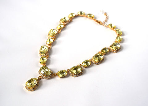 Citrine Yellow Halo Riviere Necklace