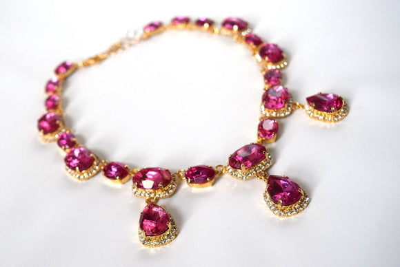 Fuchsia Pink Halo Necklace